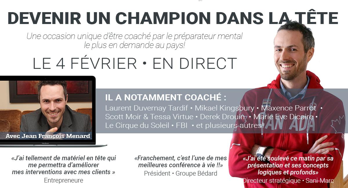 Conférenciers Québec, Formation, Motivation et Team Building - Formax - Jean François Ménard - Conférencier et Préparateur mental d'athlètes olympiques